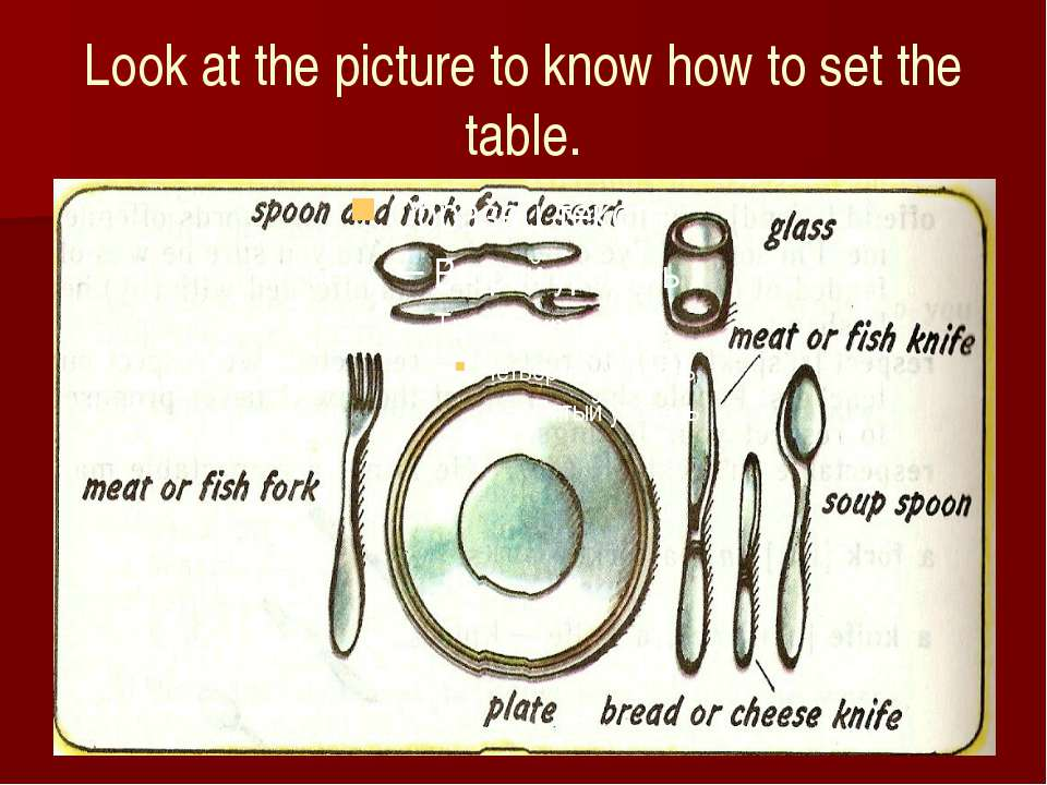 Look at the picture to know how to set the table.