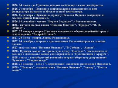1826, 24 июля - до Пушкина доходит сообщение о казни декабристов. 1826, 3 сен...