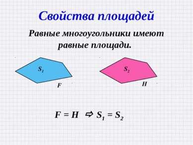 Свойства площадей Равные многоугольники имеют равные площади. F = H S1 = S2 S...