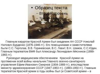История в лицах Главным хирургом Красной Армии был академик АН СССРНиколай Н...