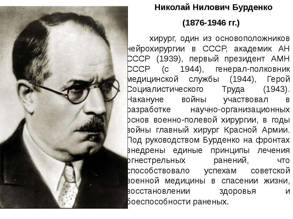 Николай Нилович Бурденко (1876-1946 гг.) хирург, один из основоположников ней...