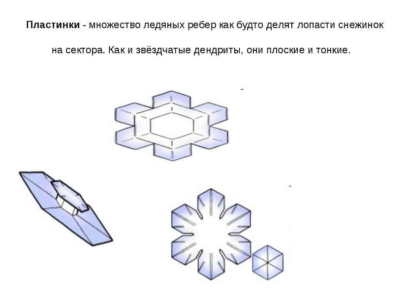 Пластинки - множество ледяных ребер как будто делят лопасти снежинок на секто...