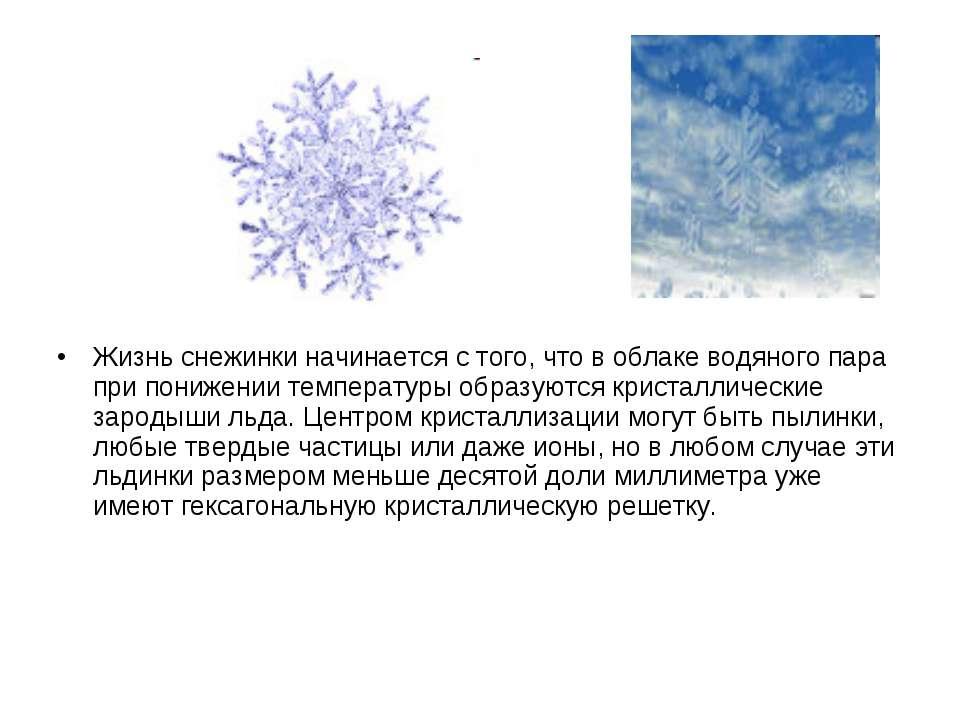 Жизнь снежинки начинается с того, что в облаке водяного пара при понижении те...
