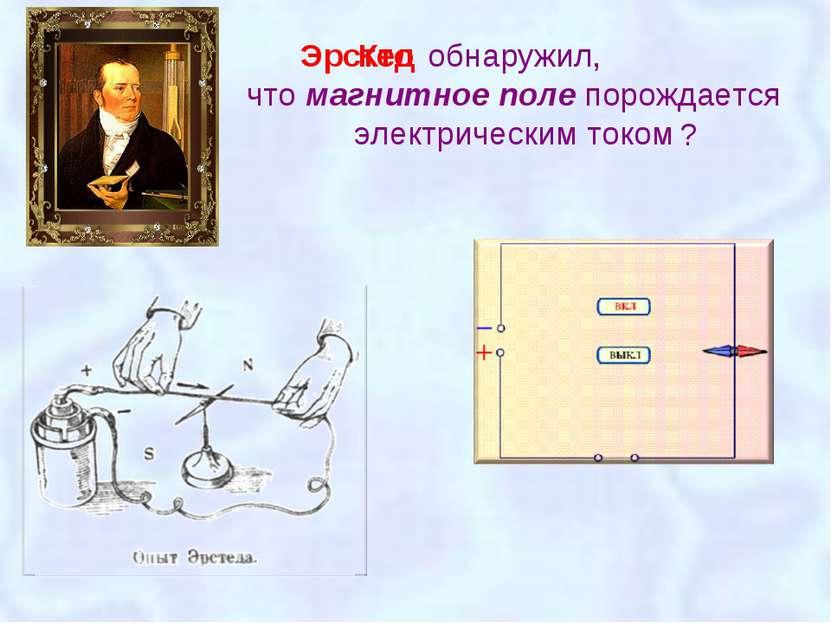 обнаружил, что магнитное поле порождается электрическим током Эрстед Кто ?