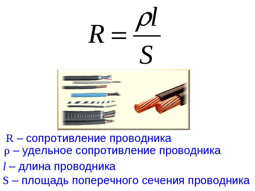 ρ – удельное сопротивление проводника S – площадь поперечного сечения проводн...