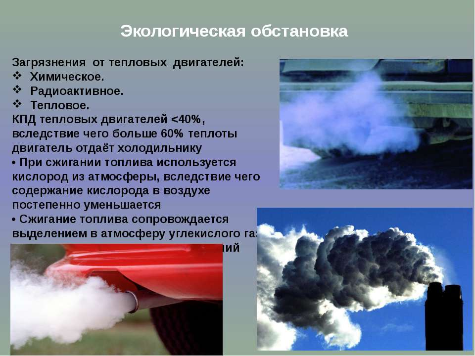 Экологическая обстановка Загрязнения от тепловых двигателей: Химическое. Ради...