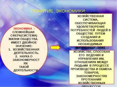 ПОНЯТИЕ ЭКОНОМИКИ. ЭКОНОМИКА - СЛОЖНЕЙШАЯ СФЕРА(СИСТЕМА) ЖИЗНИ ОБЩЕСТВА. ИМЕЕ...