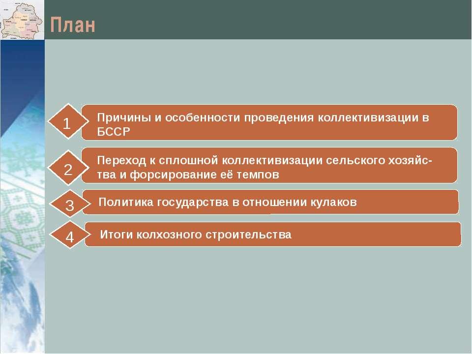 План Причины и особенности проведения коллективизации в БССР 1 Политика госуд...