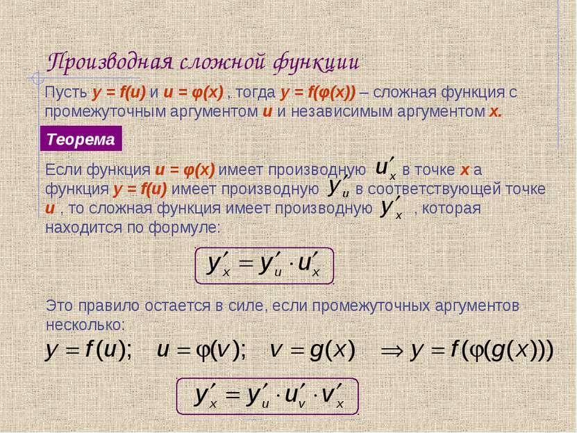 Производная сложной функции Пусть y = f(u) и u = φ(x) , тогда y = f(φ(x)) – с...