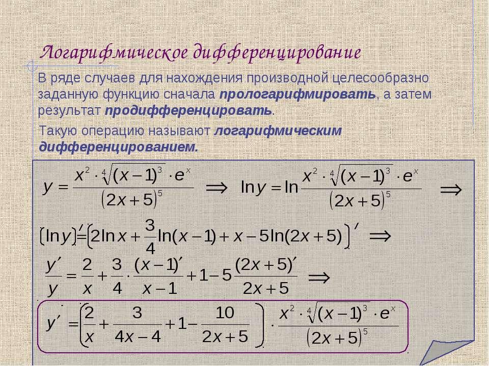 Логарифмическое дифференцирование В ряде случаев для нахождения производной ц...