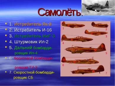 Самолёты 1. Истребитель Як-9 2. Истребитель И-16 3. Истребитель МиГ-3 4. Штур...