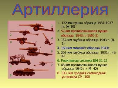 1. 122-мм пушка образца 1931-1937 гг. (А-19) 2. 57-мм противотанковая пушка о...