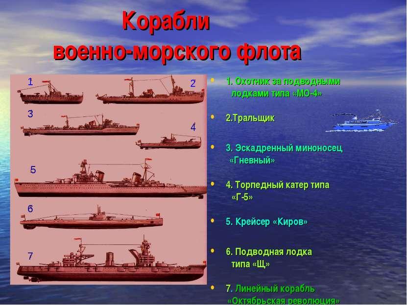 Корабли военно-морского флота 1. Охотник за подводными лодками типа «МО-4» 2....