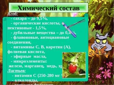Химический состав Ягод: - сахара – до 9,5%, - органические кислоты, пектиновы...