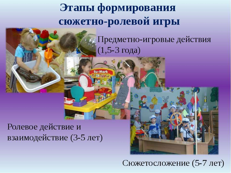 Сюжетосложение (5-7 лет) Этапы формирования сюжетно-ролевой игры Предметно-иг...