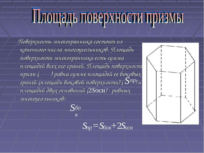 Поверхность многогранника состоит из конечного числа многоугольников. Площадь...