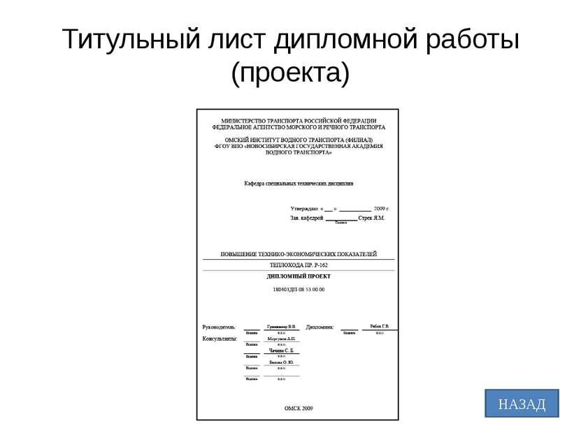 Титульный лист дипломной работы (проекта)