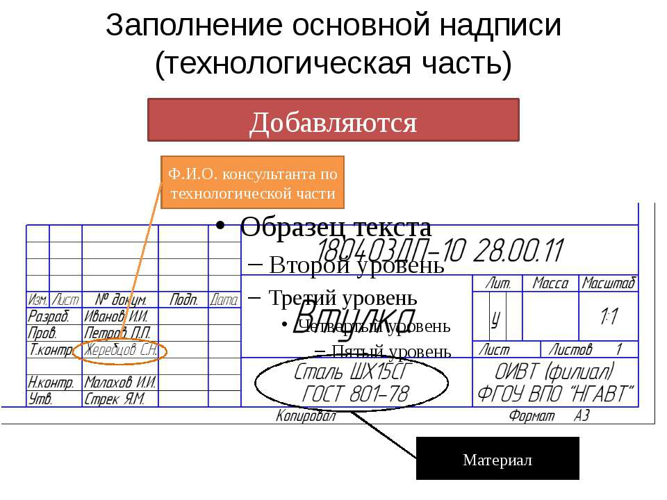 Заполнение основной надписи (технологическая часть)