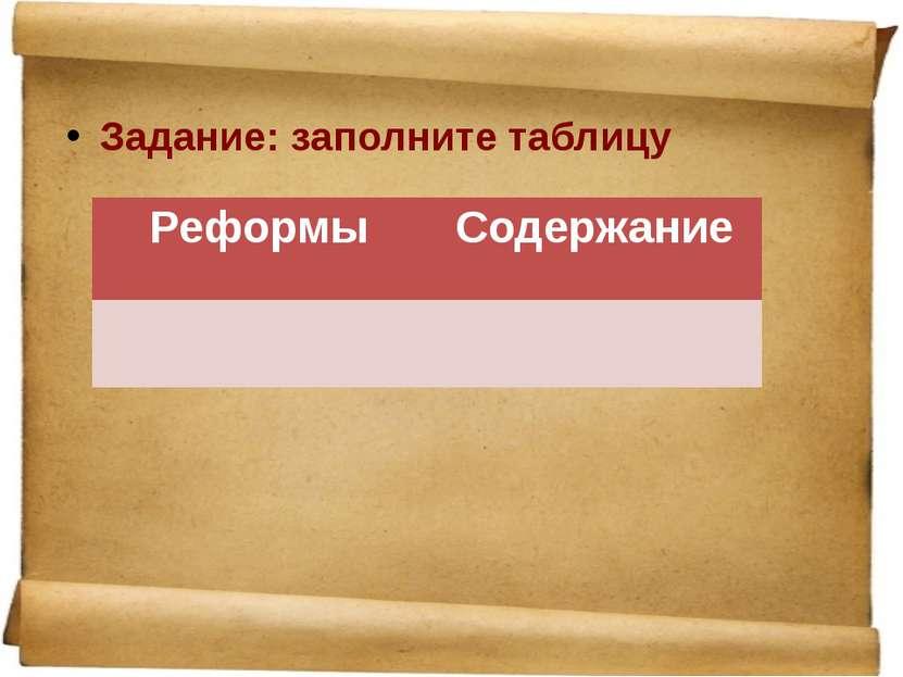 Задание: заполните таблицу Реформы Содержание