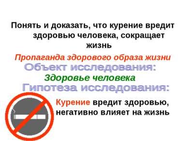 Понять и доказать, что курение вредит здоровью человека, сокращает жизнь Проп...