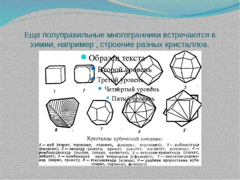 Еще полуправильные многогранники встречаются в химии, например , строение раз...