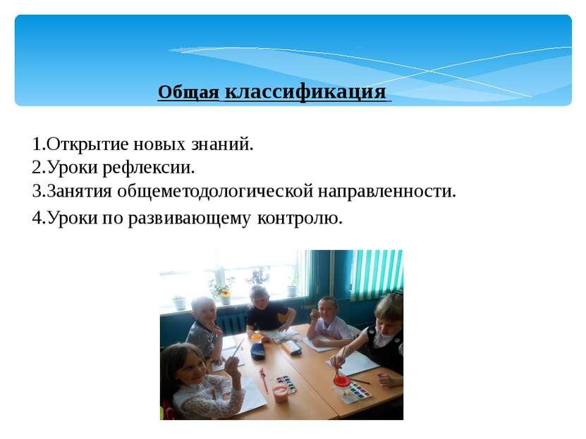 Общая классификация 1.Открытие новых знаний. 2.Уроки рефлексии. 3.Занятия общ...
