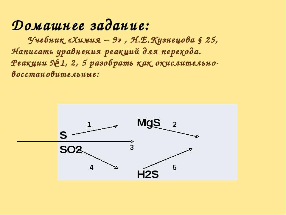 Домашнее задание: Учебник «Химия – 9» , Н.Е.Кузнецова § 25, Написать уравнени...