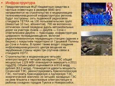 Инфраструктура Предусмотренные ФЦП бюджетные средства и частные инвестиции в ...