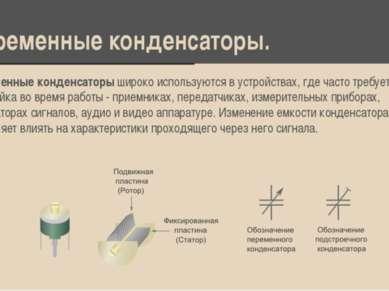 Переменные конденсаторы. Переменные конденсаторы широко используются в устрой...