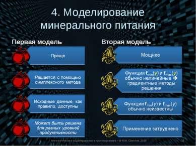 4. Моделирование минерального питания Первая модель Вторая модель Математичес...