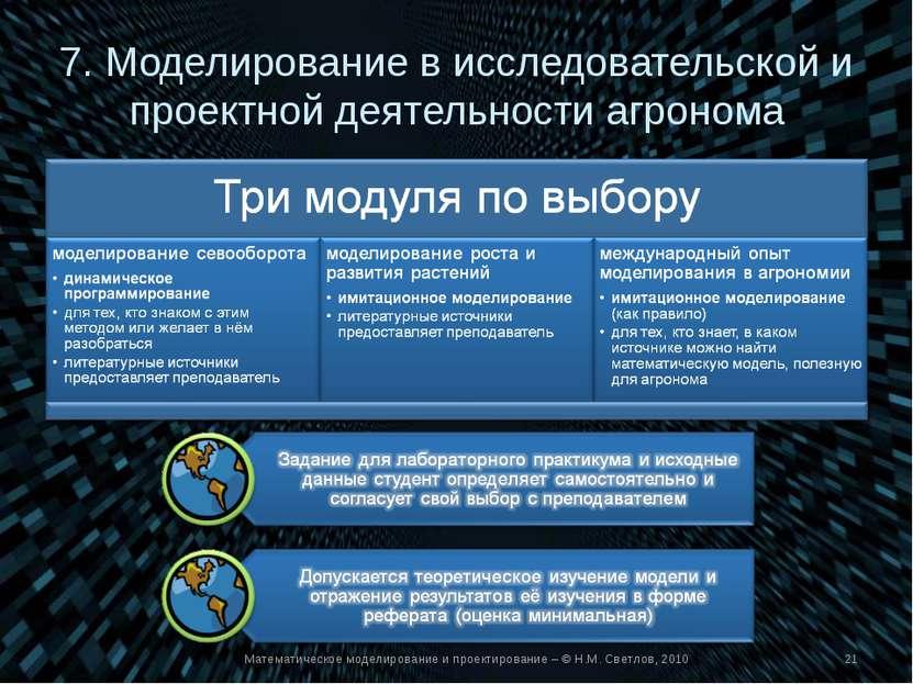7. Моделирование в исследовательской и проектной деятельности агронома Матема...
