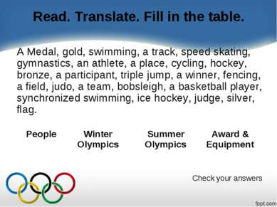 Read. Translate. Fill in the table. A Medal, gold, swimming, a track, speed s...