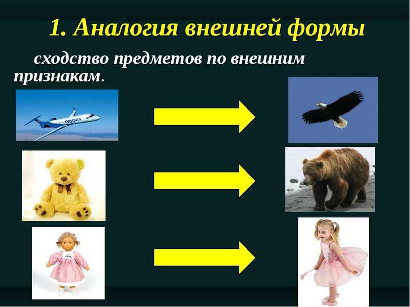 1. Аналогия внешней формы сходство предметов по внешним признакам.