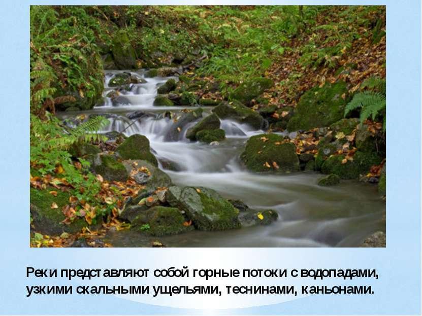 Реки представляют собой горные потоки с водопадами, узкими скальными ущельями...