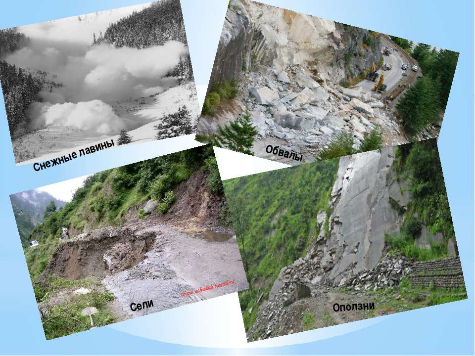 Снежные лавины Сели Обвалы Оползни