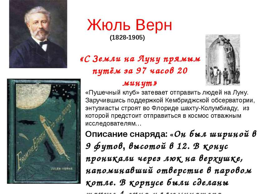 Жюль Верн (1828-1905) «С Земли на Луну прямым путём за 97 часов 20 минут» «Пу...