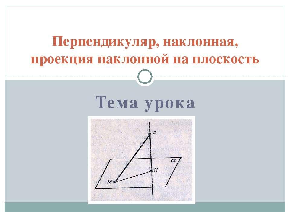 Тема урока Перпендикуляр, наклонная, проекция наклонной на плоскость