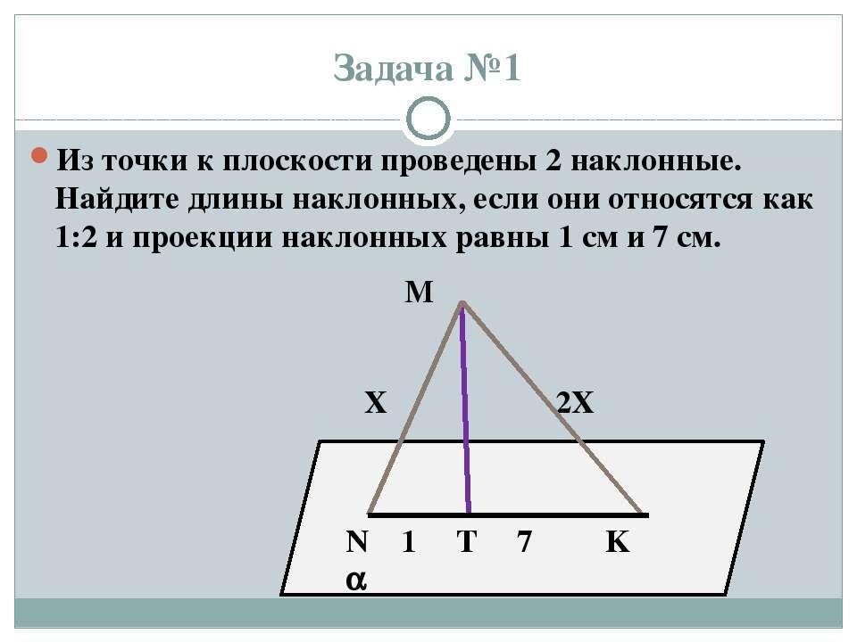 Задача №1 Из точки к плоскости проведены 2 наклонные. Найдите длины наклонных...
