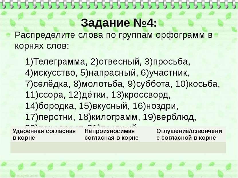 Задание №4: Распределите слова по группам орфограмм в корнях слов: 1)Телегра...