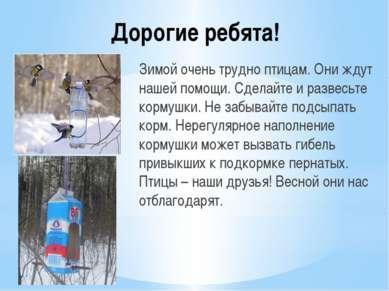 Дорогие ребята! Зимой очень трудно птицам. Они ждут нашей помощи. Сделайте и ...