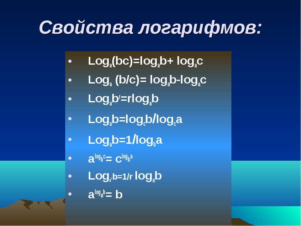 Свойства логарифмов: Loga(bc)=logab+ logac Loga (b/с)= logab-logac Logabr=rlo...