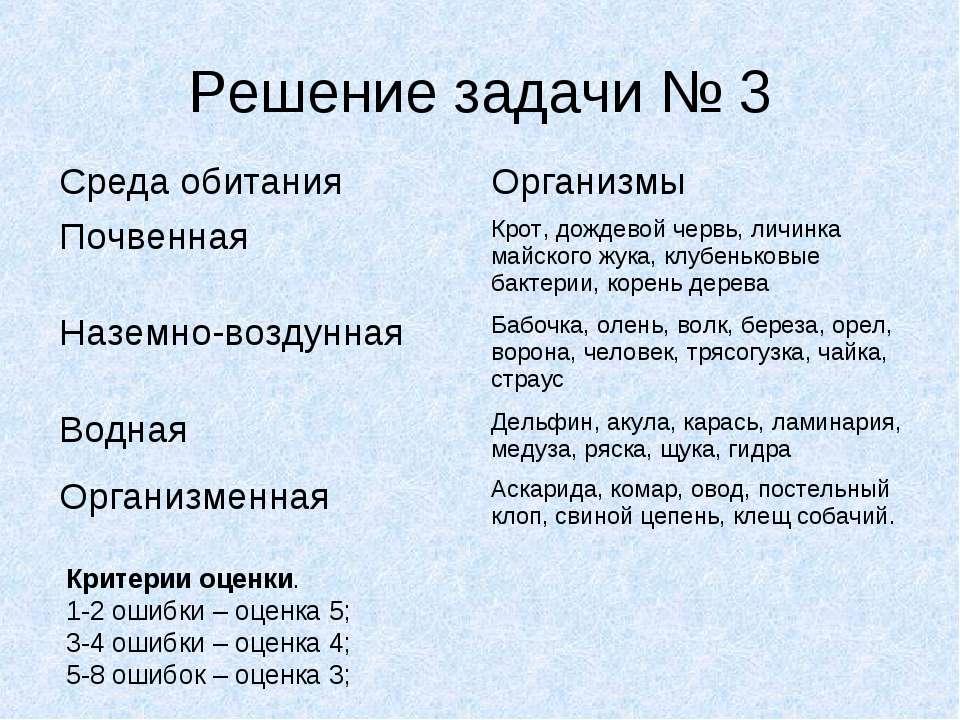 Решение задачи № 3 Критерии оценки. 1-2 ошибки – оценка 5; 3-4 ошибки – оценк...