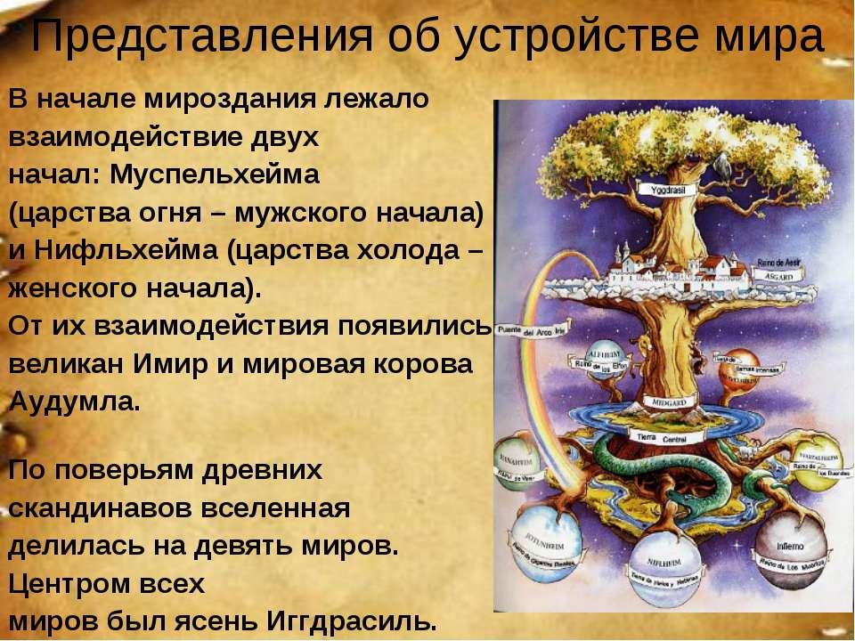 Представления об устройстве мира В начале мироздания лежало взаимодействие дв...