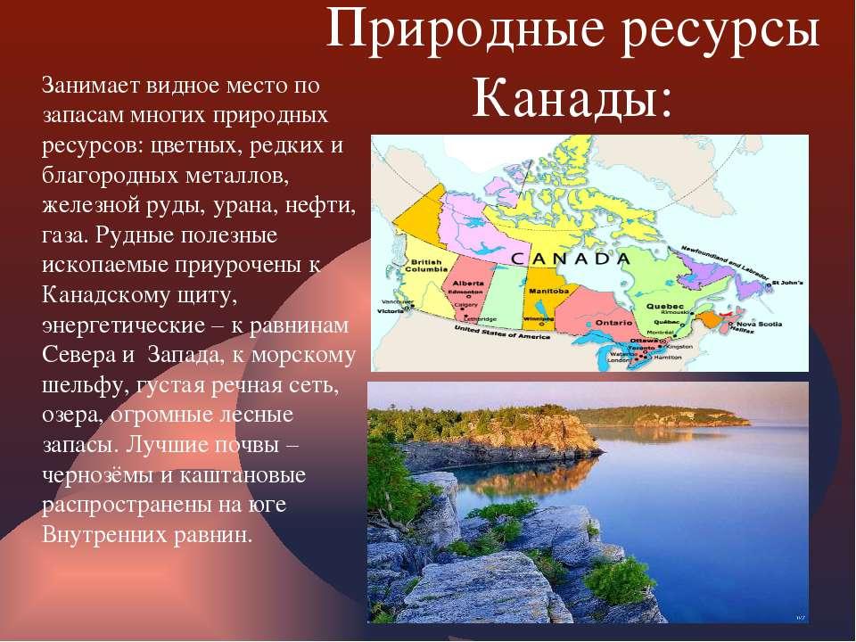 Природные ресурсы Канады: Занимает видное место по запасам многих природных р...