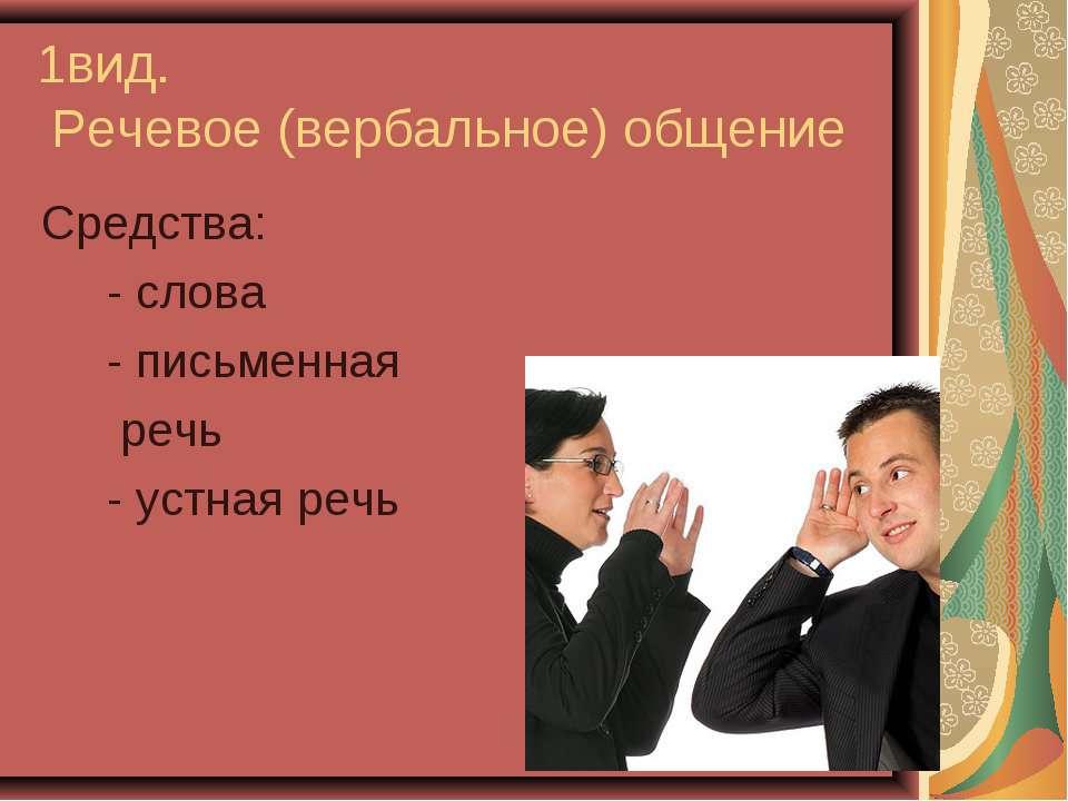 1вид. Речевое (вербальное) общение Средства: - слова - письменная речь - устн...