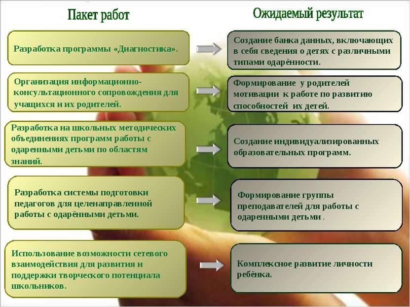 Разработка программы «Диагностика». Организация информационно-консультационно...