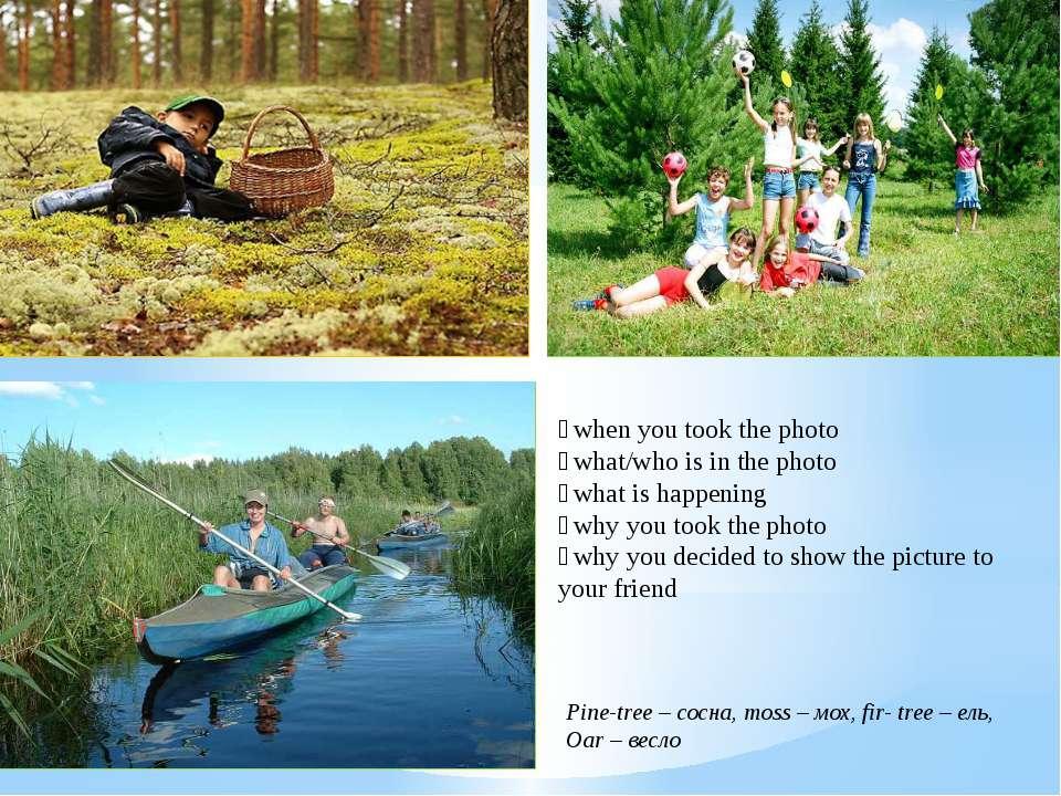 Pine-tree – сосна, moss – мох, fir- tree – ель, Oar – весло when you took the...