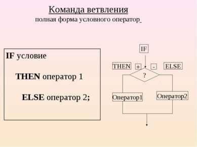 Команда ветвления полная форма условного оператор IF условие THEN оператор 1 ...