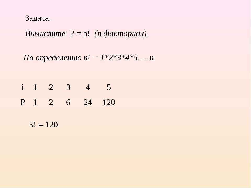 Задача. Вычислите P = n! (n факториал). По определению n! = 1*2*3*4*5…..n. 2 ...