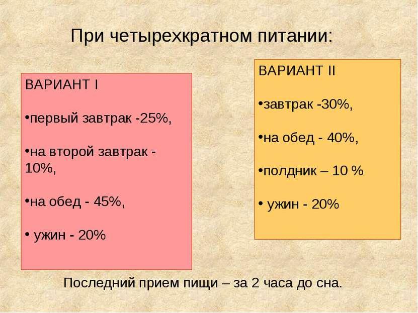 ВАРИАНТ I первый завтрак -25%, на второй завтрак - 10%, на обед - 45%, ужин -...